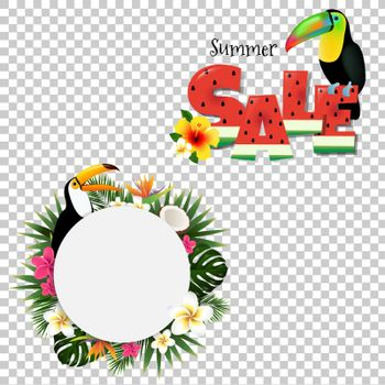 Summer Tropical Banner  With Toucans