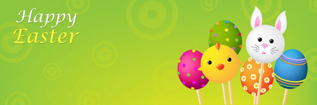Easter Banner With Gradient Mesh, Vector Illustration