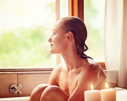 Pretty girl in the bathtub