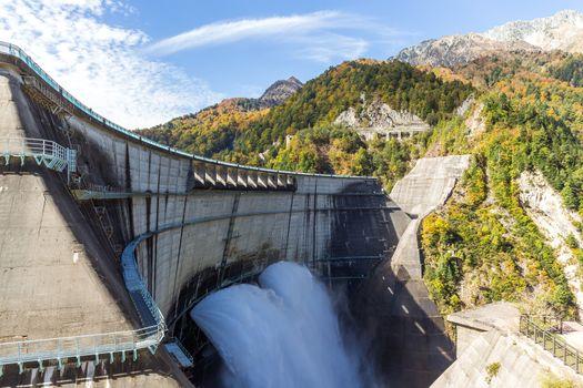 Discharge water from kurobe dam