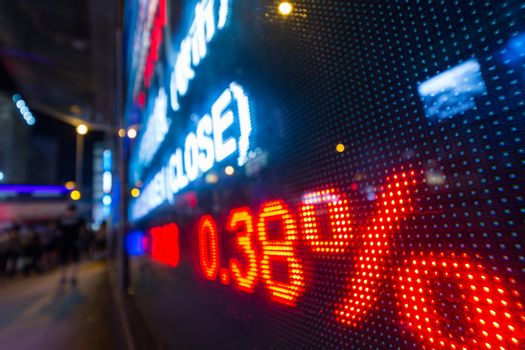 Stock market display in the street at night