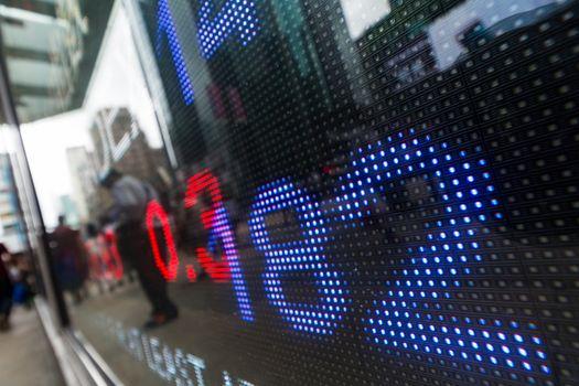 Stock market price drop display