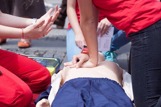 Cardiopulmonary resuscitation - CPR. Cardiac massage training.