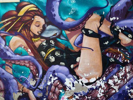 Beautiful street art graffiti