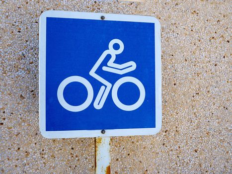 Bicycle lane blue and white sign