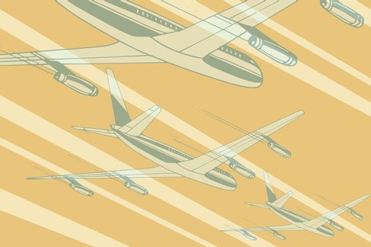 Air transport in the sky travel background