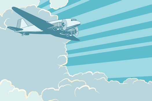 Air transport is flying in the sky plane, retro style