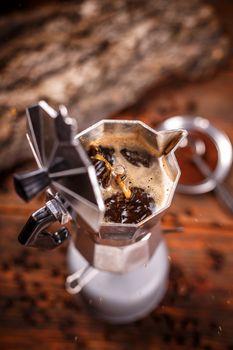 Moka coffee pot on stove