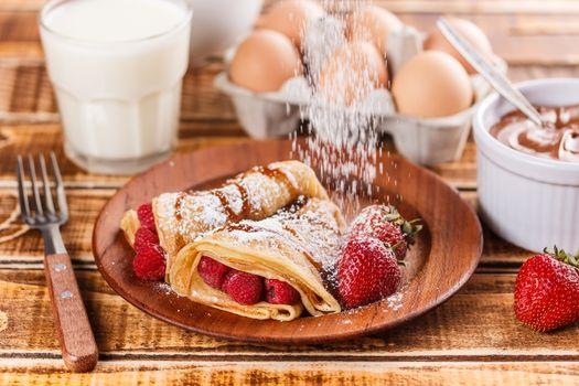 Fruit filled pancakes