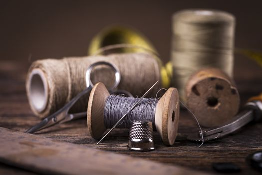 Sewing instruments, threads, needles in vintaae style