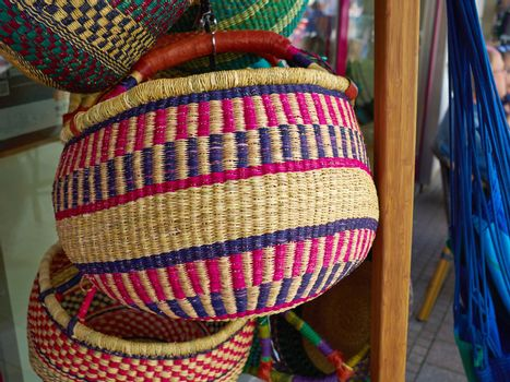 Colorful woven handmade African Caribbean baskets