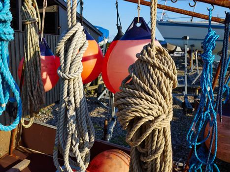 Sailing ropes,buoy and securing equipment