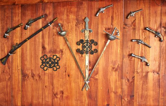 Collection of old antique Spanish weapons