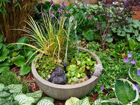 Small water fountain in a beautiful garden