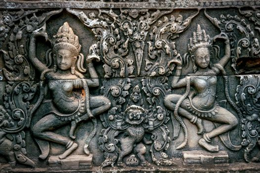 Bas Relief Statue of Khmer Culture in Angkor Wat, Cambodia.