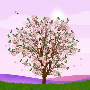 illustration of tree in spring
