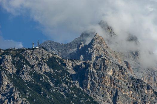 Autumnal corso Italia, the beautiful Dolomite mountains near Cortina D'Ampezzo,  Dolomites, Alps, Veneto