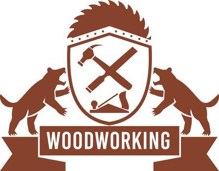 Tasmanian Devil Woodworking Crest Retro