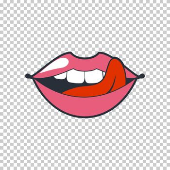 Quirky lips. patch, sticker isolated on a transparent background. Cool sexy lips. Selphie cartoon Sign for print, in comics, Fashion, pop art, retro style 80-s 90s