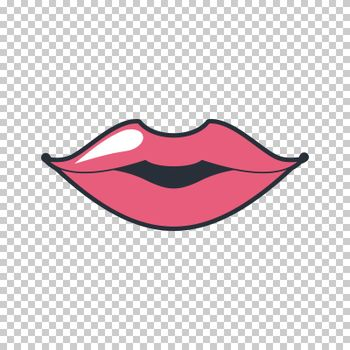 Lips kiss. patch, sticker isolated on white. Cool sexy red kissed. Selphie cartoon Sign for print, in comics, Fashion, pop art, retro style 80-s 90s