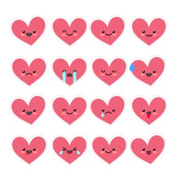 Cute heart emoticons set. Various emotions of the character. Collections Valentine s avatar icons. illustration.