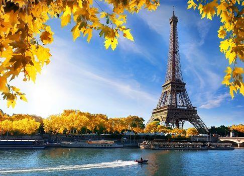 Seine and Eiffel Tower in autumn
