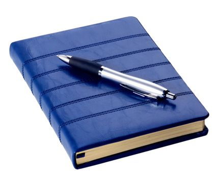 Contemporary Dark Blue Leather Diary and Elegant Silver Pen isolated on White background