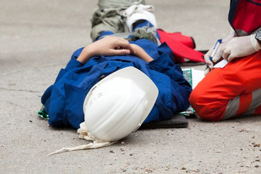 First aid training. Workplace accident.