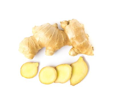 Fresh ginger slices on white background, herb and raw material c
