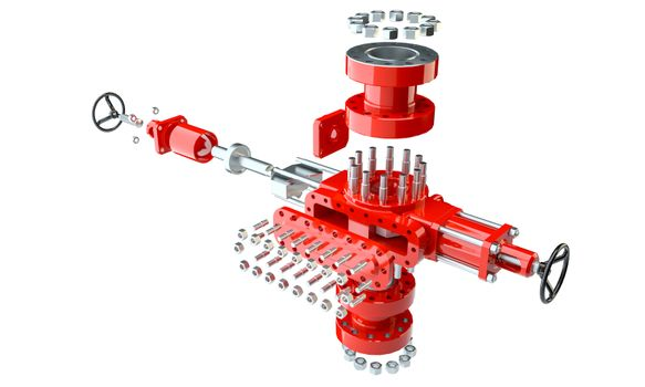 Blowout preventer in disassembled condition