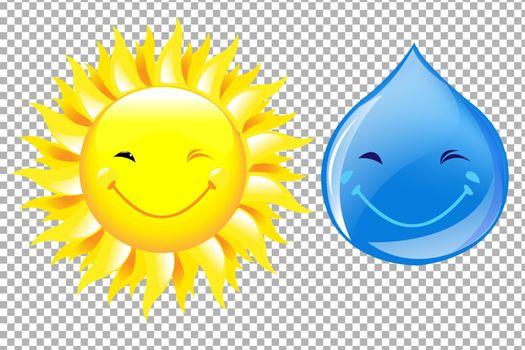 Sun And Drop Cartoon Set