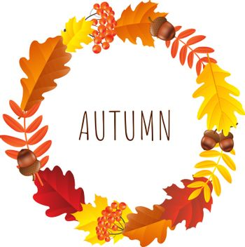 Autumn Wreath, Vector Illustration, With Gradient Mesh
