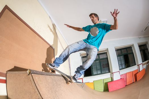 Skateboarder performing a trick