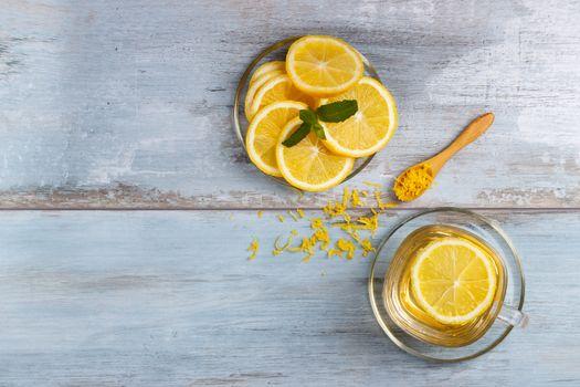 Lemon tea in a glass