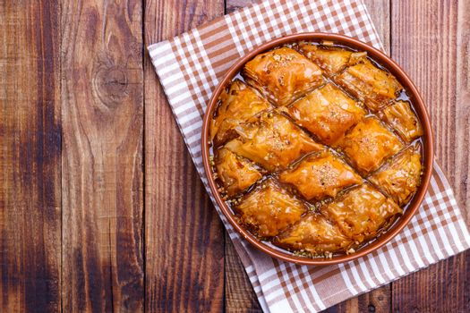Homemade baklava with nuts