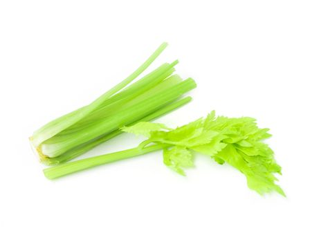 Closeup fresh celery slice on white background, Raw material for make cooking