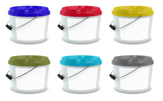Set of white plastic paint buckets mock up with different color caps and blank lable. 3d illustration isolated on white background