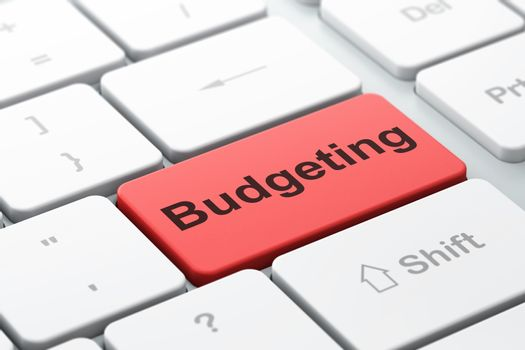 Business concept: Budgeting on computer keyboard background