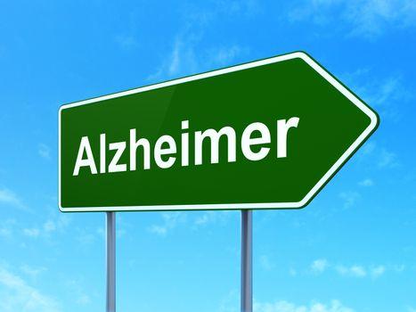 Medicine concept: Alzheimer on road sign background