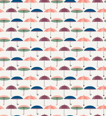 Vector Cute seamless pattern with a set of textured flat umbrellas