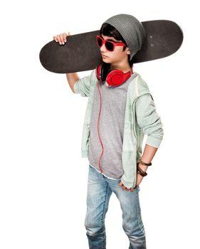 Teen boy with skateboard