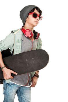 Skateboarder over white background