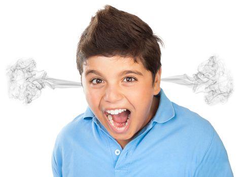 Angry teen boy portrait