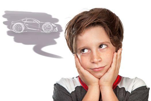 Teen boy dreaming about a car