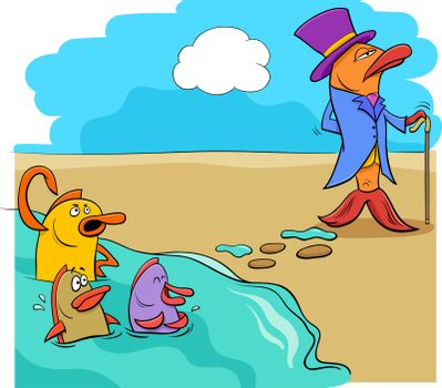 saying fish out of water humor cartoon
