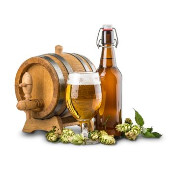 Beer barrel with beer glass and bottle