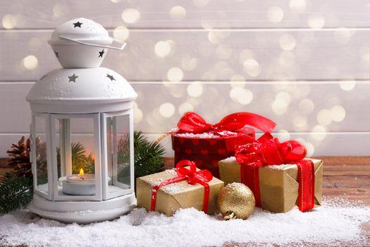 Christmas lantern and gift boxes