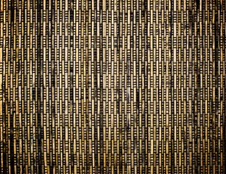 Background of Brown, Yellow and Beige Wicker Straw Mat closeup