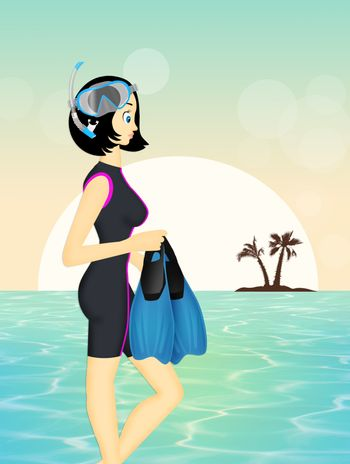 woman with mask and fins