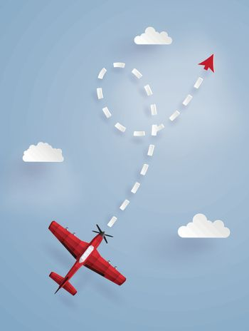 Concept of target ,red plane flying follow the arrow on the sky.The illustrations do the same paper art and craft style.
